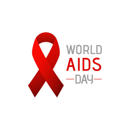 World AIDS day banner. Red ribbon AIDS cancer awareness symbol. December 1. Isolated on white background.