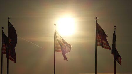 American Flag At Dawn Imagens