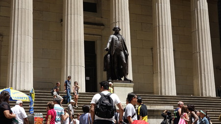 immobile: Tourists And Statue Of George Washington Editorial