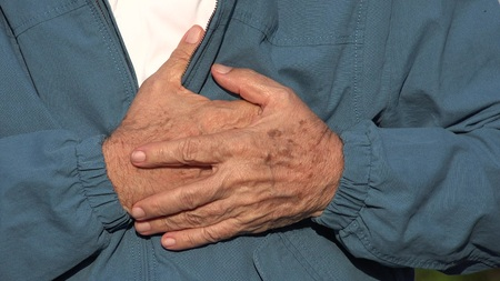 soreness: Elderly Man With Heart Attack Or Chest Pain