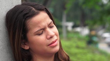 tearful: Sad Emotional And Tearful Teen Girl