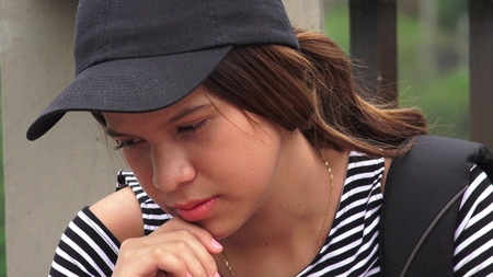 Sad Lonely Depressed Female Teen Student