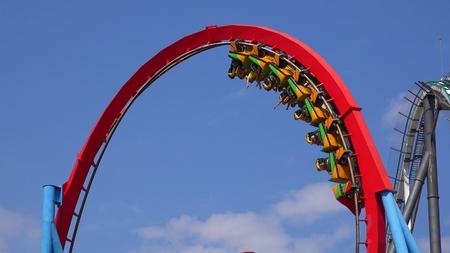 Loop Of Roller Coaster Ride Фото со стока