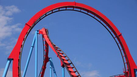 Roller Coasters At Amusement Park Stok Fotoğraf