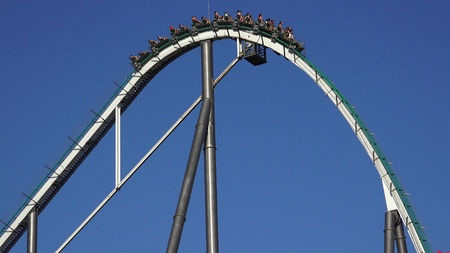 People On Roller Coaster Thrill Ride Imagens