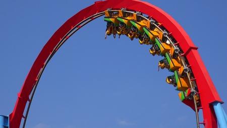 Roller Coaster Ride Loop Stock fotó