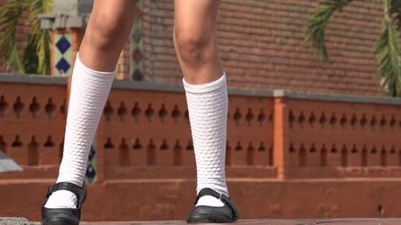stocking feet: Girl Dancing Wearing White Socks
