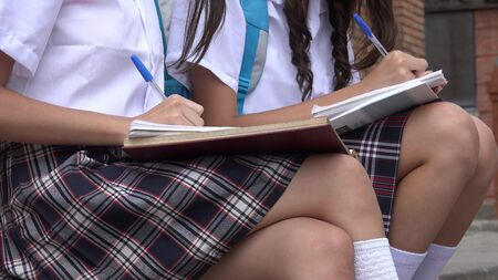 scribbling: Female Students Writing Notes Stock Photo