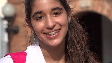 Pretty Teen Girl Smiling With Braces Stock fotó