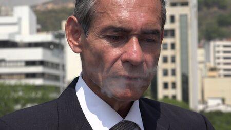 Male Smoker Exhaling Smoke Stok Fotoğraf