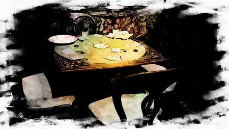 vintage furniture: Playing Card Table Vintage Furniture Stock Photo