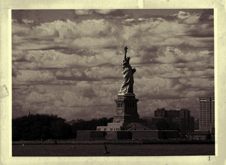 Vintage Photo Of Statue Of Liberty Imagens