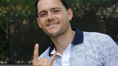 Man And Offensive Hand Gesture