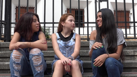 Teen Girls Diverse Friends