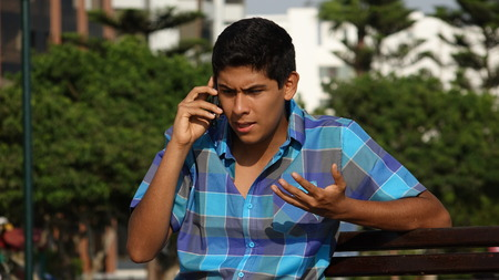 Confused During Phone Call Stock Photo