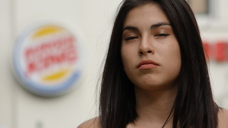 Unhappy At Fast Food Stock Photo