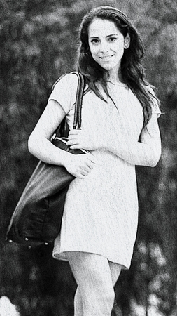 Sketch Of Beautiful Female With Purse Wearing A Dress