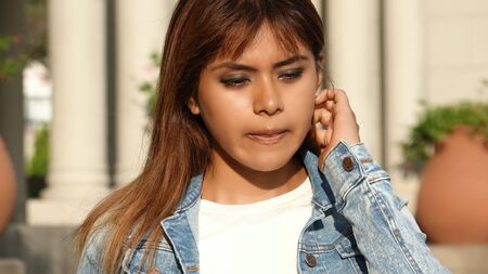 Confused Latina Female Stock Photo - 80020582