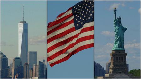 뉴욕시, 미국 국기와 자유의 여신상