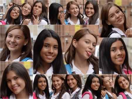Female High School Students Collage.Jpg Stock Photo