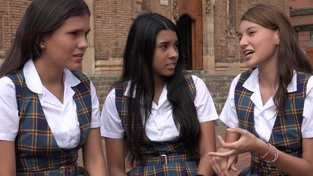 Vrouwelijke studenten praten Stockfoto