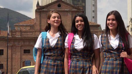 Female Students Near School