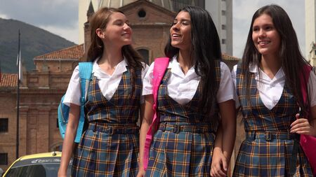 Female High School Students Stock Photo