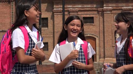Students Socializing Wearing School Uniforms