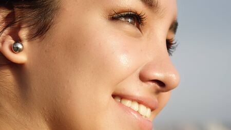 Smilling face Of Young Teen, close up. Stock Photo