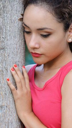 Peruvian Female Alone Stock fotó