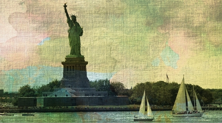 Statue Of Liberty And Sailboats