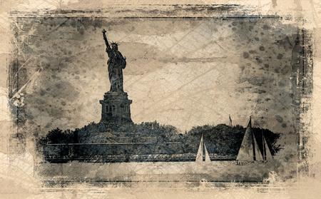 자유와 항해 보트의 동상 스톡 콘텐츠
