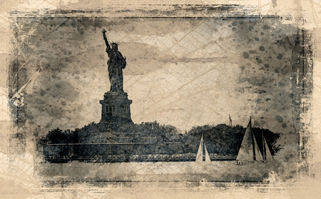 Statue Of Liberty And Sail Boats
