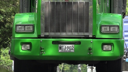 Green Truck Radiator And Headlight Editorial