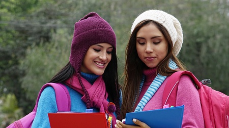 Female Students Cold Weather