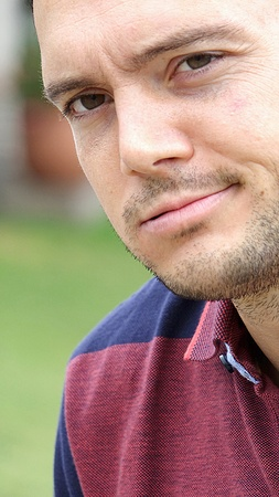 Confused Unshaven Male Stock Photo