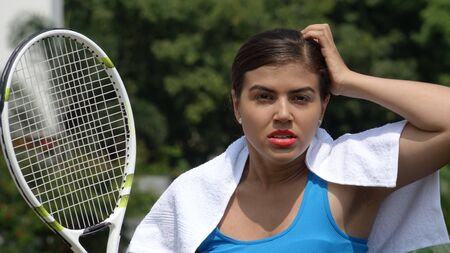 Confused Female Tennis Player