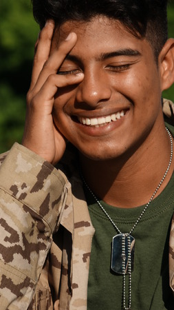 Handsome Male Soldier Daydreaming Stock Photo