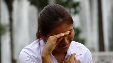 ストレス下のマイノリティ女性 写真素材