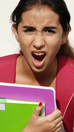 Girl Student And Anger Stock Photo