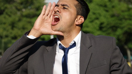 Business Man Shouting Stock Photo