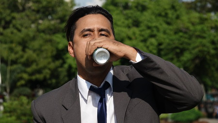 Business Man Drinking Beer
