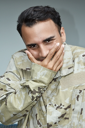 Ashamed Male Soldier Stock Photo