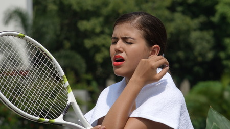 Injured And Sore Female Tennis Player