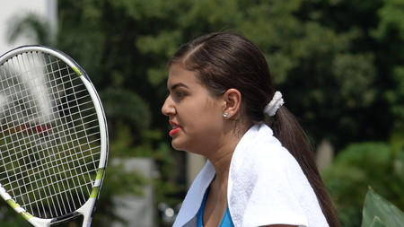 Angry Female Teen Tennis Player