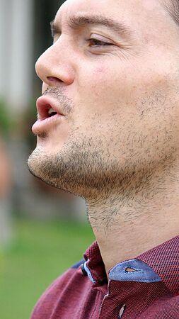 Unshaven Male Yelling 版權商用圖片