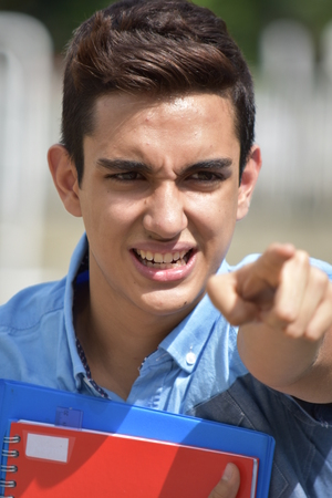 Good Looking Male Student And Anger Stock Photo