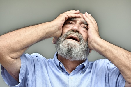 Hopeless Bearded Old Male Stock Photo