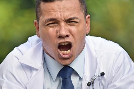 Male Medical Professional Shouting Wearing Lab Coat