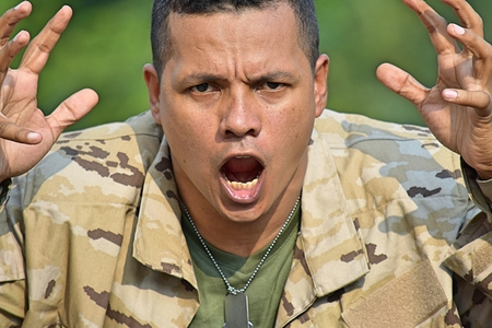 Soldier And Anger Stock Photo